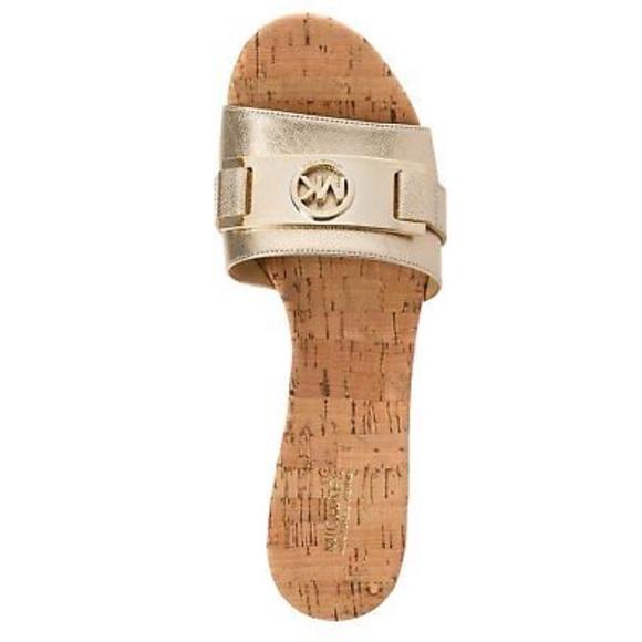 bcffc4f61dc MK WARREN PLATFORM WEDGE SLIDE SANDAL GOLD GOLD